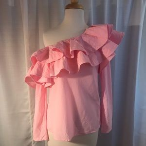 Pink One Shoulder Ruffle Blouse